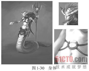 蛇女黑白手绘