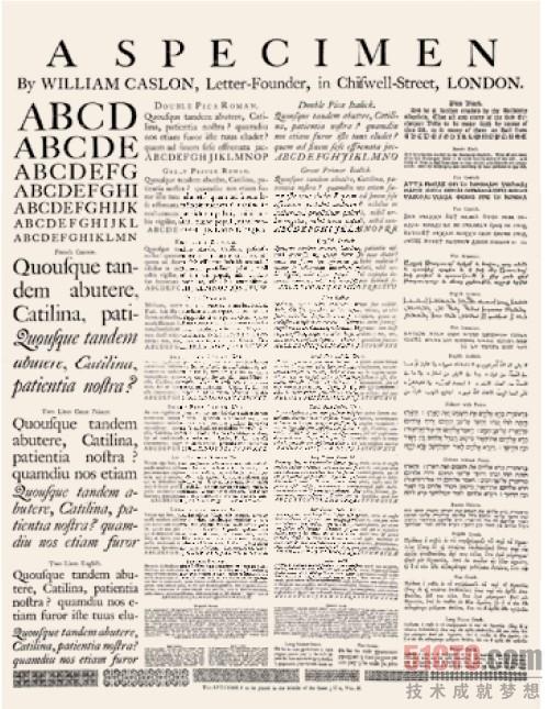 世纪著名英国字体设计师william caslon 设计的罗马字体的一个样本