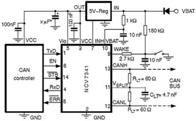 图2是采用ncv7341的5v can控制器应用的电路图.