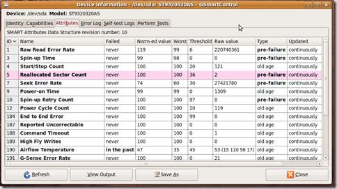 在ubuntu系统下利用smart功能监视硬盘状态