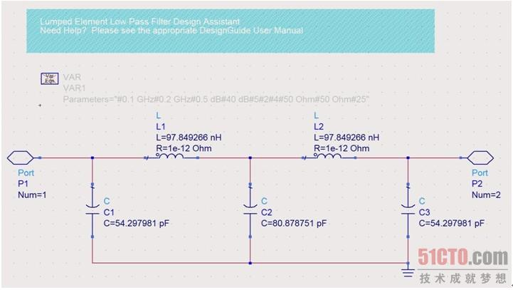 下面对图10.15中【Filter DesignGuide】窗口的参量介绍如下。 Source Impedances为源阻抗,源阻抗的默认状态为50。 Load Impedances为负载阻抗,负载阻抗的默认状态为50。 First Element为滤波器第一个元器件的串并联方式,Parallel为并联方式,Series为串联方式,软件的默认状态为Parallel并联方式。 Order(N)为滤波器的阶数,滤波器的阶数与滤波器的元器件数相同 Response Type为滤波器响应的方式,滤波器响应的方式