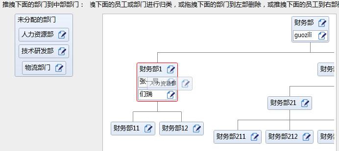 传统的树形菜单只适用于展示,本控件提供了一个可视化的组织图展示,并实现了一个对树形图的CRUD拖拽操作,可用于OA的人员维护或是部门关系图。 1. 使用此控件只需要定义根节点的模板: