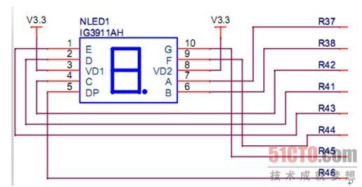 "LED数码管的引线已在内部连接完成,只需引出它们的各个笔画、公共电极。LED数码管常用段数一般为7段,有的另加一个小数点,还有一种是类似于3位""+1""型。位数有半位,1、2、3、4、5、6、8、10位LED数码管根据LED的接法不同分为共阴和共阳两类,了解LED的这些特性,对编程是很重要的,因为不同类型的数码管除了它们的硬件电路有差异外,编程方法也是不同的。 2.软件设计与分析 在FS11C14平台上,7段数码管的硬件电路如图8-39所示。"
